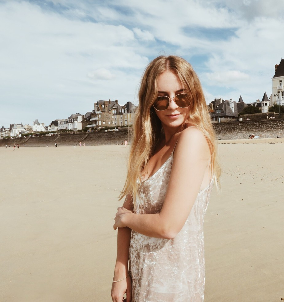 Stolen Inspiration | New Zealand & London Fashion Blogger | Zara Velvet Slip Dress, Vintage Sunglasses | St. Malo, France