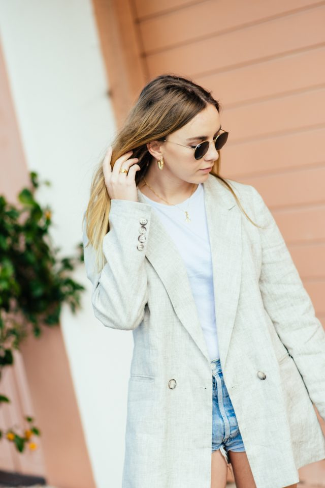 Reformation Blazer, Reliquia Spiral Earrings, NAKD Vintage Shorts, Gold Rose Necklace | Stoleninspiration.com | NZ Fashion Blogger