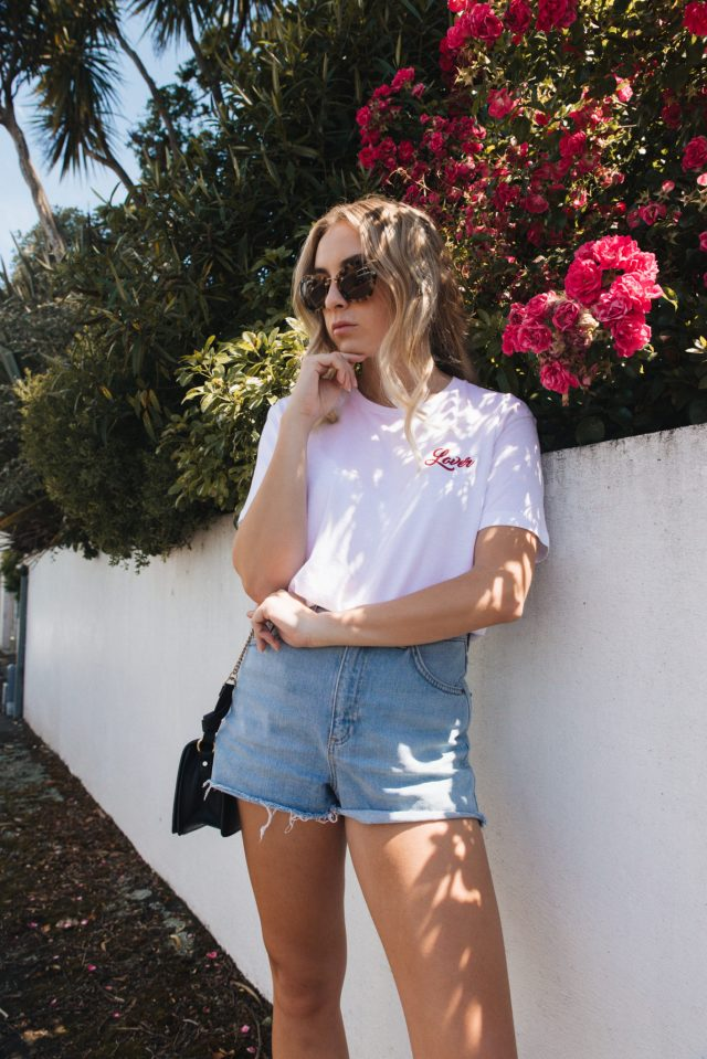 Lover Tshirt, Topshop MOM Shorts, Raye Brea Loafers, Miu Miu Noir Sunglasses, Na-kd Earrings | StolenInspiration.com NZ Fashion & Travel Blog