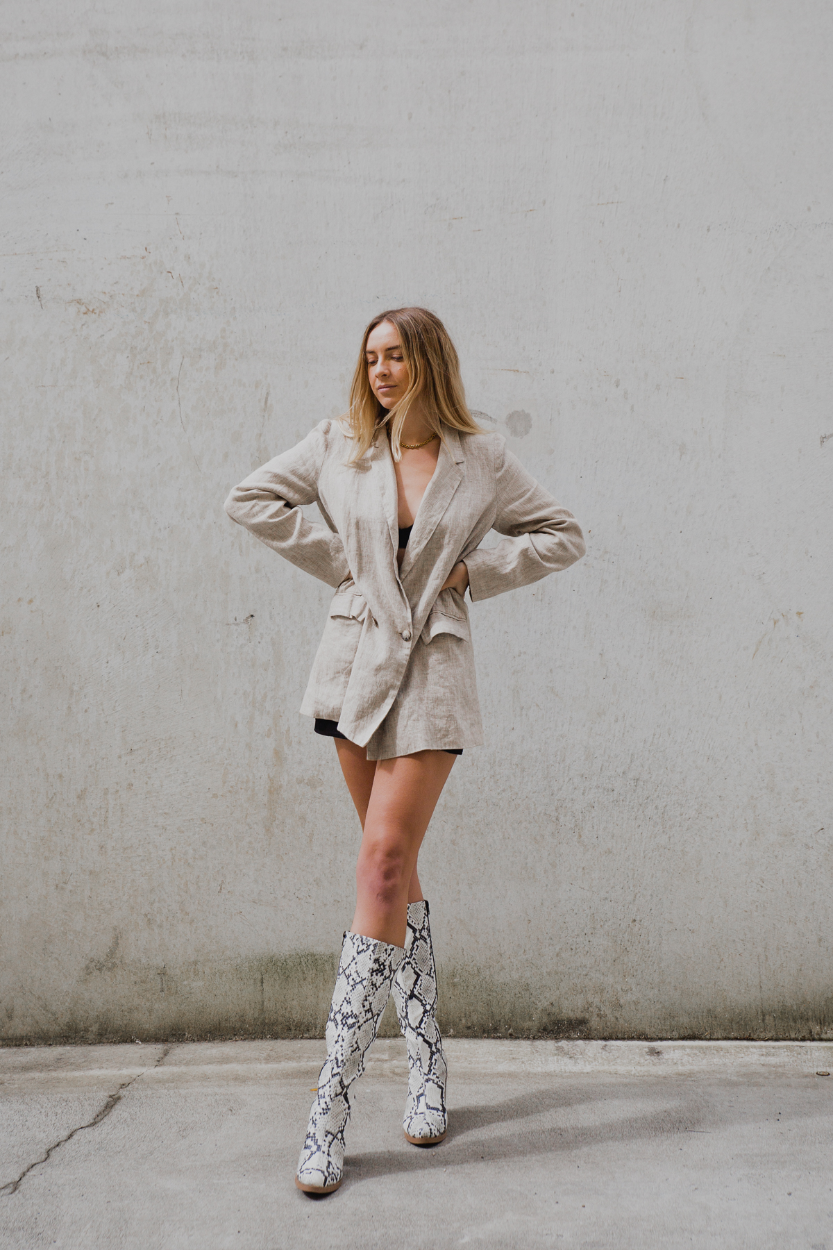 Reformation Linen Blazer & Snakeskin Knee High Boots | Stoleninspiration.com NZ Top Fashion Blogger_-15