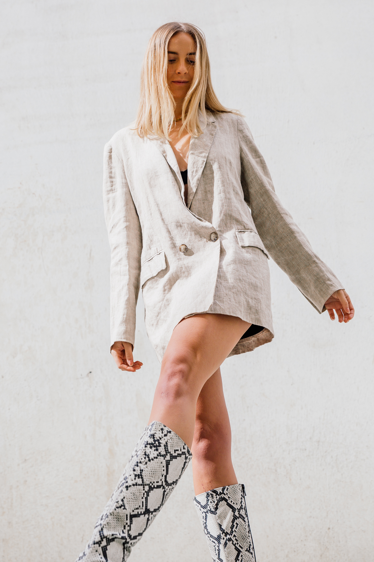 Reformation Linen Blazer & Snakeskin Knee High Boots | Stoleninspiration.com NZ Top Fashion Blogger